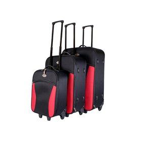 498fe177e663a Set 3 látkových kufrov na kolieskach Tassia Black Red