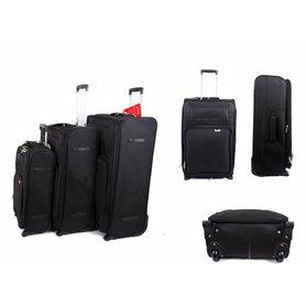 29b80d3efec72 Sada 3 plátených kufrov na kolieskach Aerolite Black