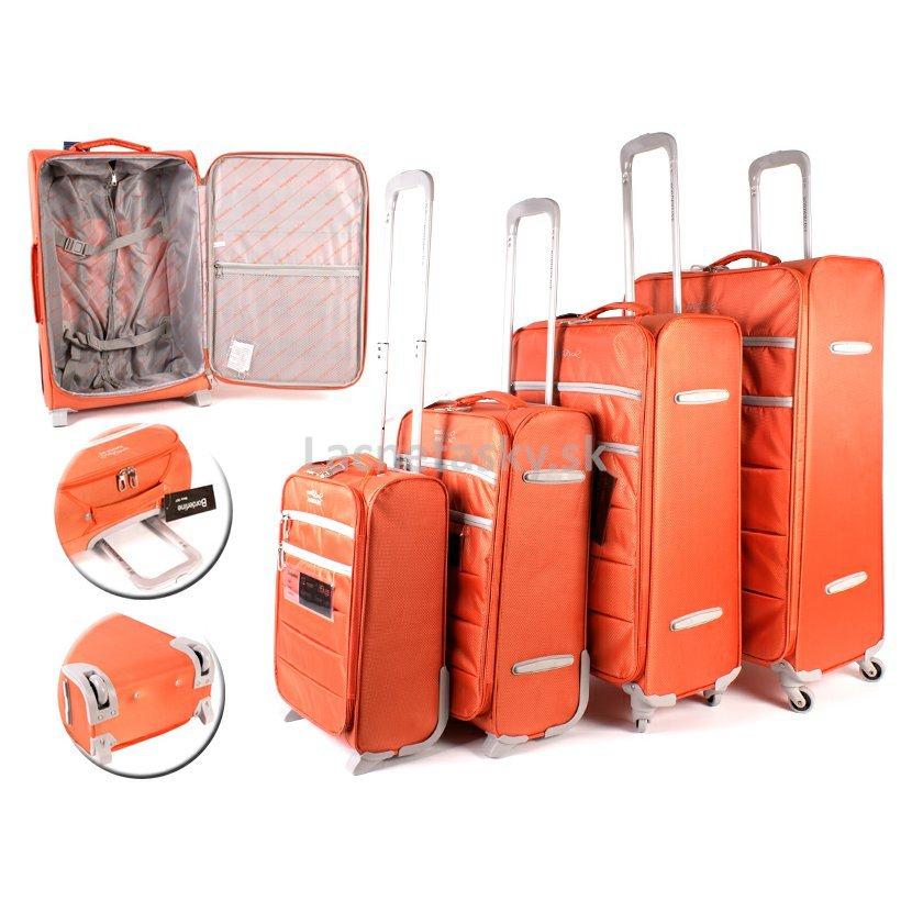 df50f27645cc2 Set 4 plátených kufrov na kolieskach Borderline Orange