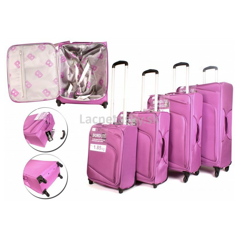 2856b64dcc3c3 Set 4 látkových kufrov s kolieskami BordLite Purple